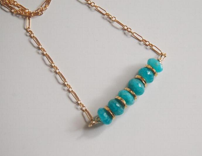 Brazilian Amazonite Necklace - Gemstone Amazonite necklace, Beadwork