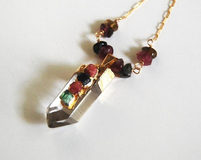 Crystal Quartz Point Pendant  With watermelon Tourmaline Nugget Necklace -
