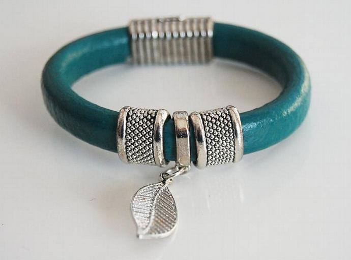 Teal Green Licorice Leather Bracelet- Bangle bracelet- Leaf  charm Bracelet -