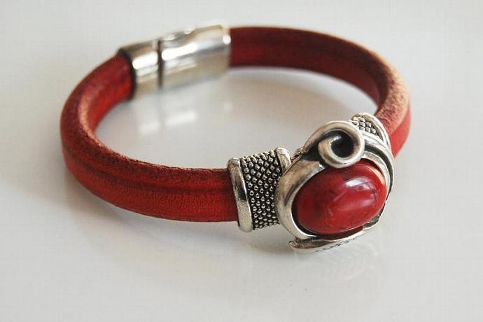Red Licorice Leather Bracelet-Bangle bracelet- Red stone charm Bracelet - Cuff