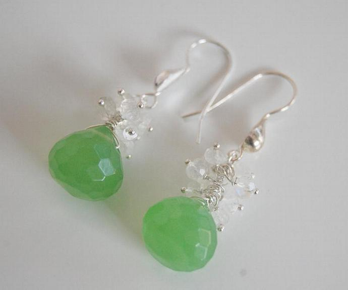 Gemstone Cluster Dangle Drop  Earrings - AAA green quartz and Moonstone cluster