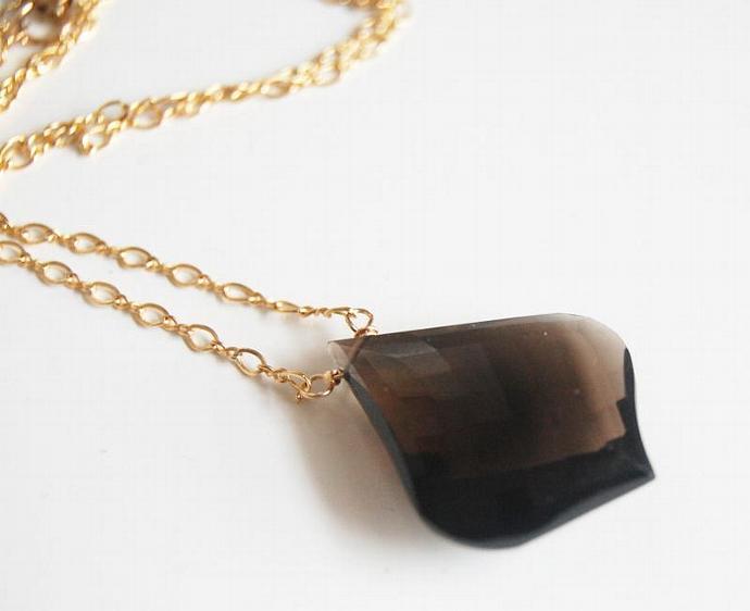 Gorgeous Smoky Quartz Chocolate Brown  Briolette Pendant Necklace