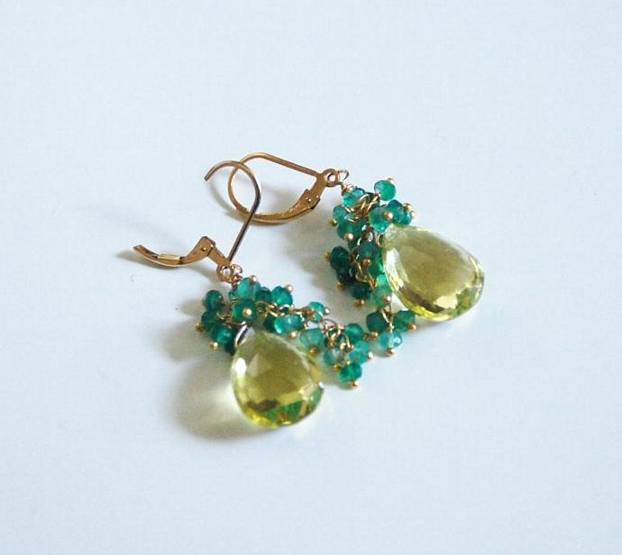 Lemon  Quartz And  Shaded green Quartz  Cluster Dangle Drop Earrings - Wedding