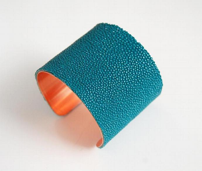 "Stingray Bracelet -Teal Green Genuine Stingray Leather Cuff Bracelet -2"" Cuff"