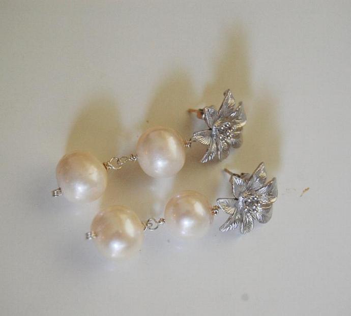Wedding Jewelry- Bridal Jewelry- Wedding Earrings-Cultured Fresh Water Pearl