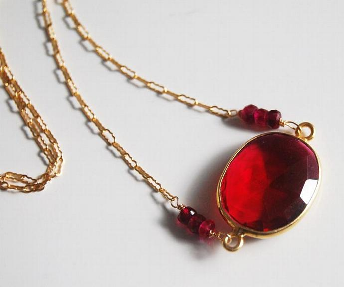 Ruby Red Quartz  Connector Neclace  on gold filled chain. wedding jewelry-