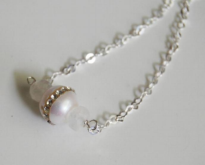 Wedding Jewelry - Fresh Water pearl And Moonstone  Necklace- June  Birthstone