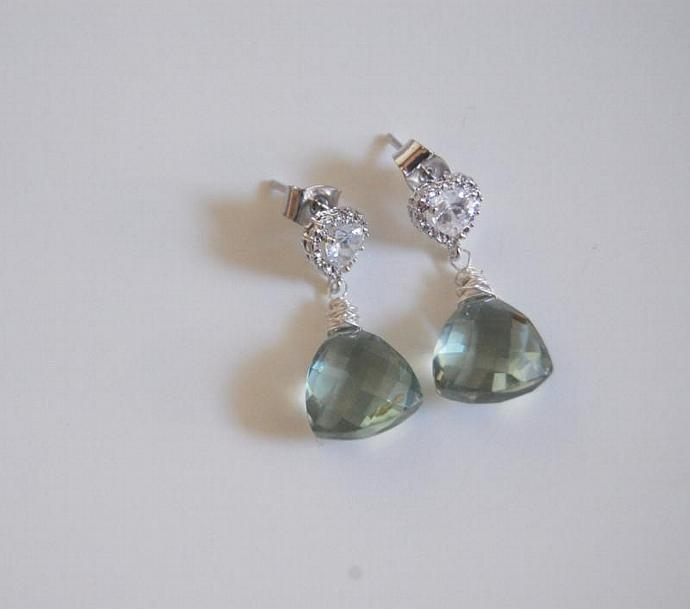 Cute Little Sage Green Quartz Dangle Earrings- Wedding Jewelry- Bridal Jewelry