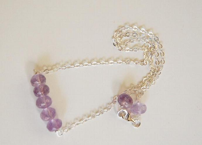 Gemstone Amethyst Necklace - sterling silver Necklace- Beaded Necklace