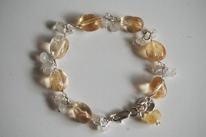 Birthstone Bracelet- Citrine And Moonstone Bracelet with Sterling silver