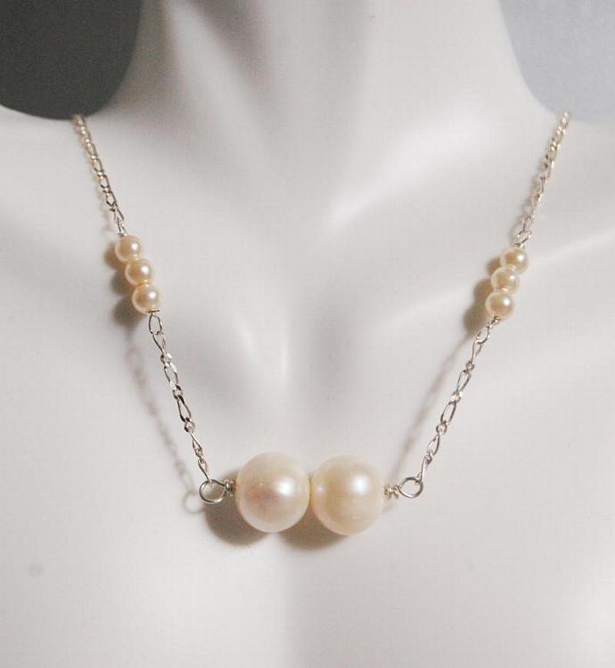 Wedding Jewelry- Wedding Necklace- Fresh Water pearl  Necklace in Sterling