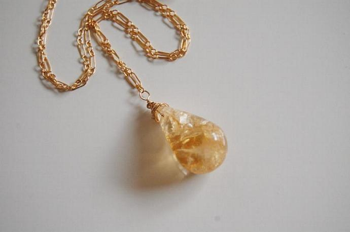 Golden Rutilated Citrine Pendant  Necklace on gold filled Chain