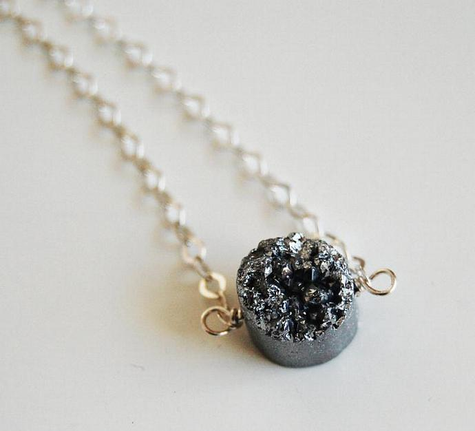 Beautiful Silver Titanium Druzy Quartz Pendant Necklace with Sterling