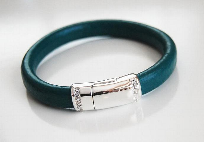 Teal Green Licorice Leather Bracelet With silver Pave Magnetic Clasp- Leather