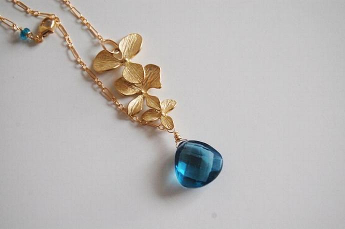 London blue quartz and Orchid charm Necklace with Gold filled chain. Wedding