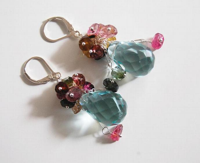 Gemstone cluster dangle  Earrings - Swiss blue crystal quartz briolette and