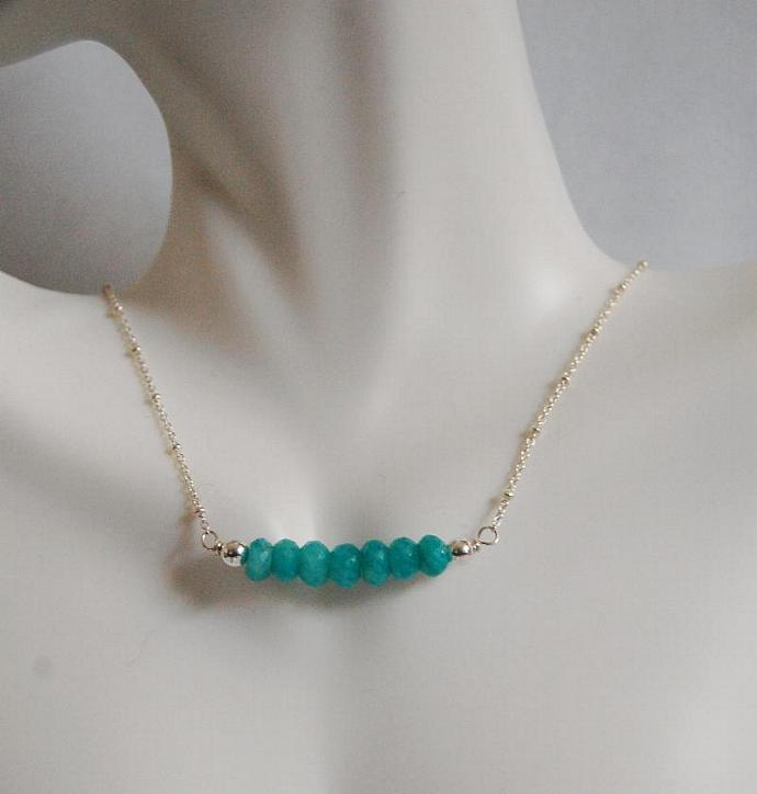 Brazilian Amazonite Necklace - Gemstone Amazonite necklace, Beaded