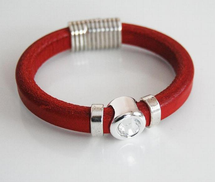Red Licorice Leather Bracelet- Bangle bracelet-Crystal charm Bracelet - Cuff