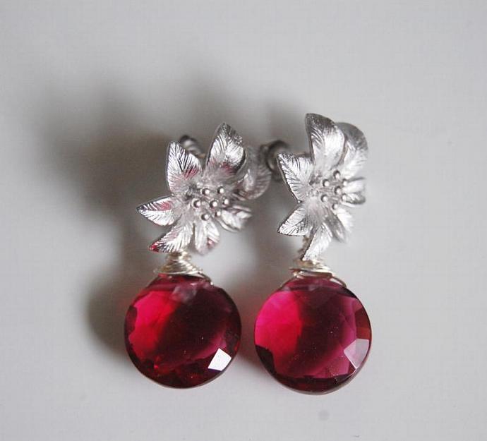 Gorgeous Pomegranate Pink quartz dangle Earrings