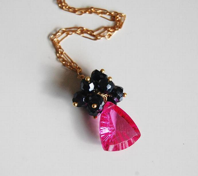 Gemstone Cluster Pendant necklace - Hot Pink Rubelite Quartz - Mystic Black