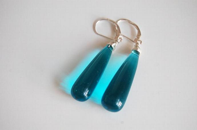 Lake blue long drop quartz briolette earrings