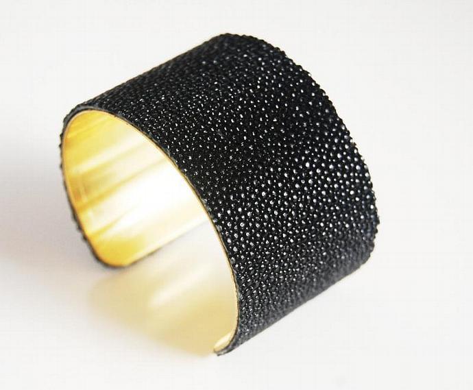 Black Stingray Bracelet -Jet Black Genuine Stingray Leather Cuff Bracelet - Cuff