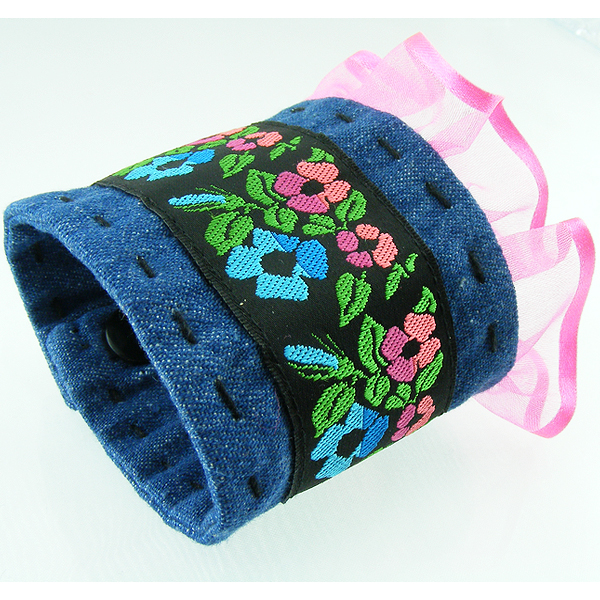 Denim Wrist CUFF Flowered Trim Blue pink ruffle