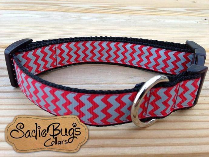 Crimson and Gray Chevron Dog Collar