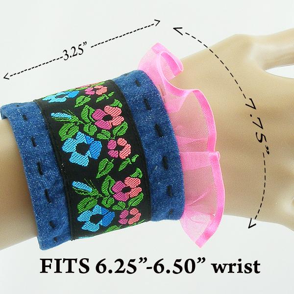 Denim Wrist CUFF Flowered Trim Blue pink ruffle