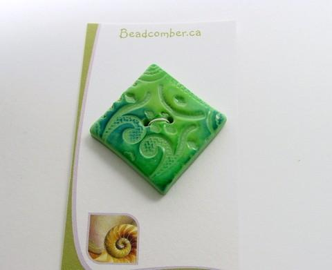 1 lg Handmade Button - Polymer Clay - Diamond - Key Lime Green