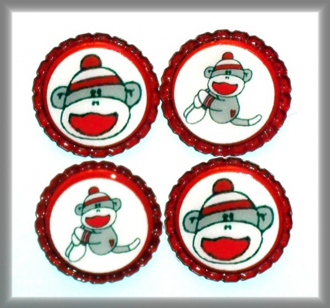 Set of 4 Sealed Sock Monkey Flattened Bottle Caps FREE SHIPPING