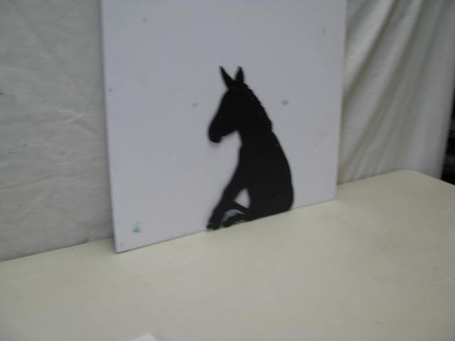 Donkey Sitting Metal Art Silhouette