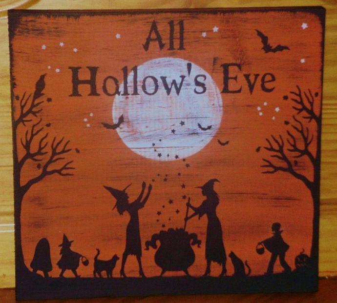 Primitive witch sign Halloween witches decorations All Hallow's Eve paintings