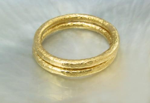 21k full round ring with textured finish -- wedding band by Ravens' Refuge