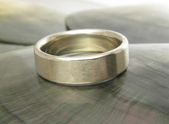 6mm white gold wedding band with beveled edges, handmade