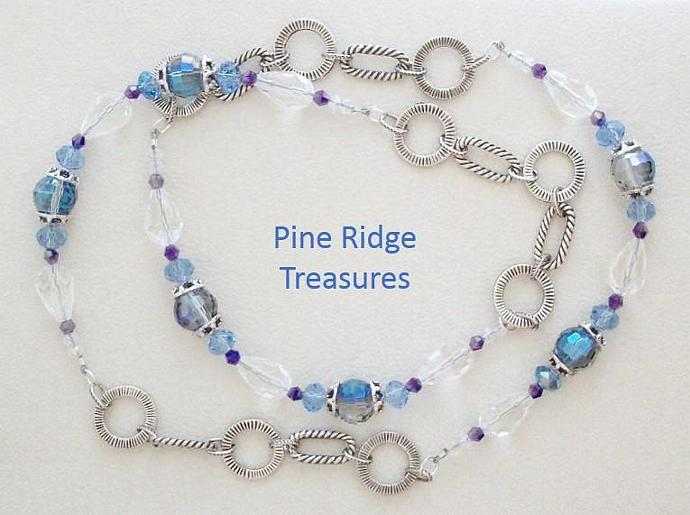Beautiful Roaring Twenties Style Blue Crystal Necklace with Silver Chain