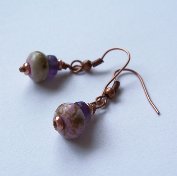 Pale Lavender Magnesite and Amethyst Earrings