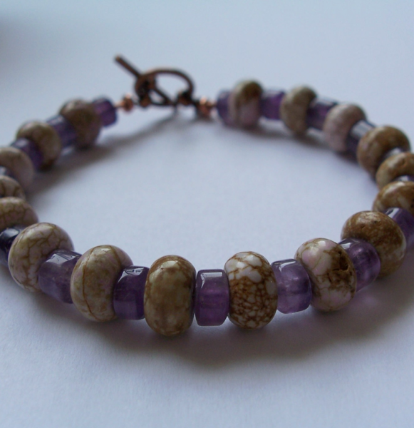 Pale Lavender Magnesite and Amethyst Bracelet