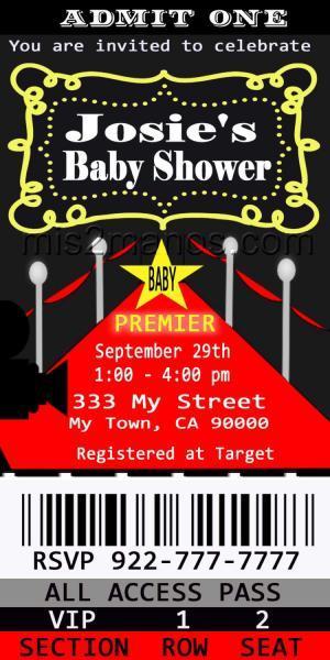 Baby Shower Movie Ticket Red Carpet Party | Mis2Manos