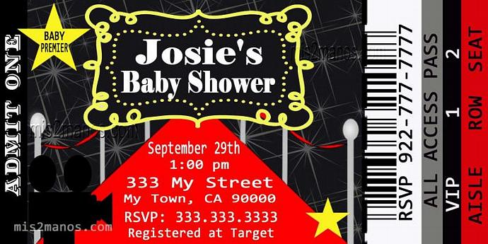 Baby Shower Movie Ticket Red Carpet Party – Red Carpet Party Invitation