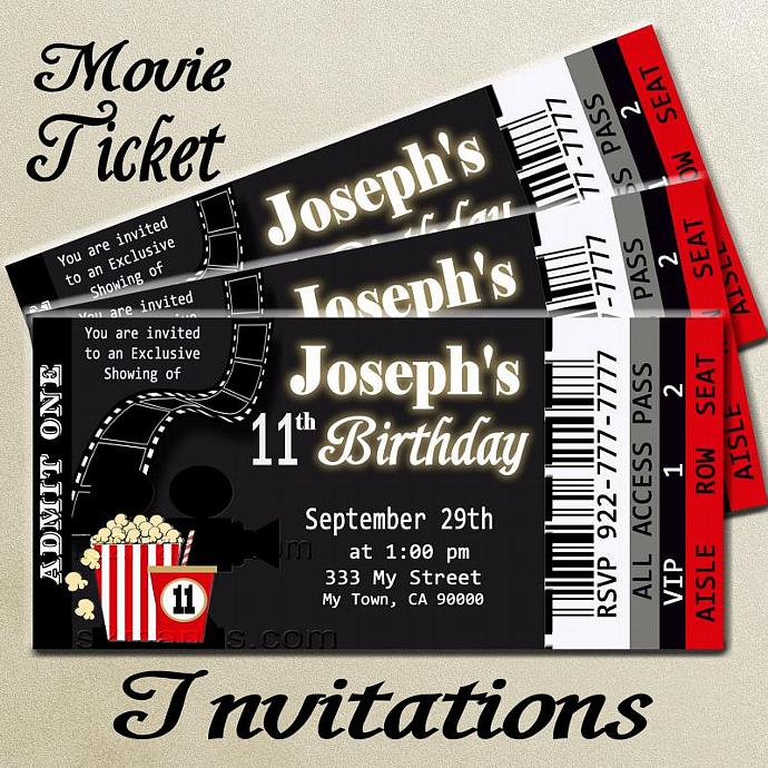 Movie Ticket Red Carpet Party Invitation – Party Ticket Invitations