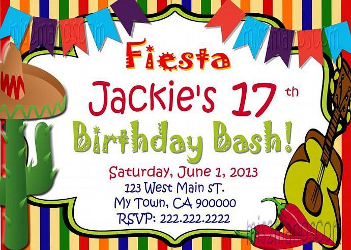 Fiesta Office Party Birthday Invitation 16 de | Mis2Manos