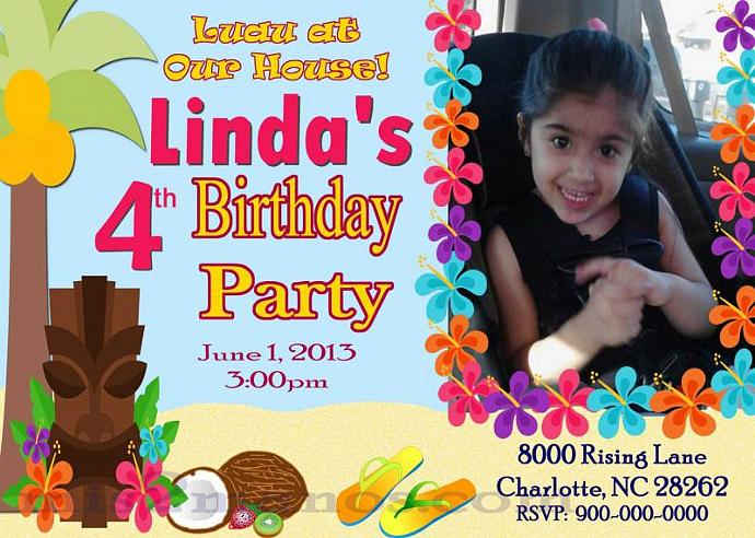 Luau Birthday Invitation DIY Custom Printable Aloha Party Print at Home Invites
