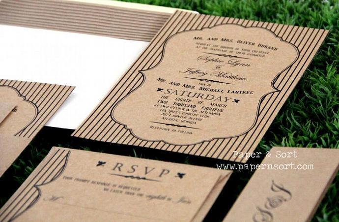 Rustic Typography Wedding Invitation - Handmade Invite and Reply Card - Eco