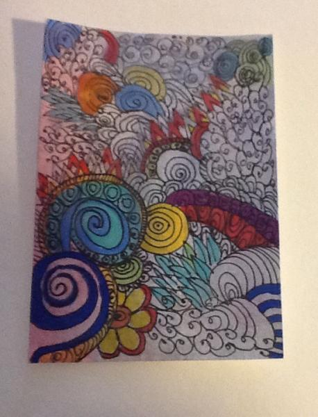 Abstract ACEO zentangle art card Among the Clouds SFA small format art