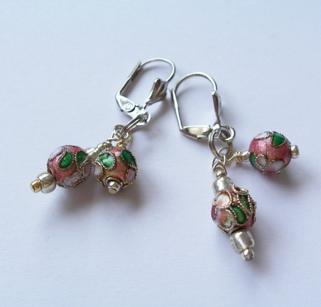 Cloisonne Beads on Leverback Ear Wires