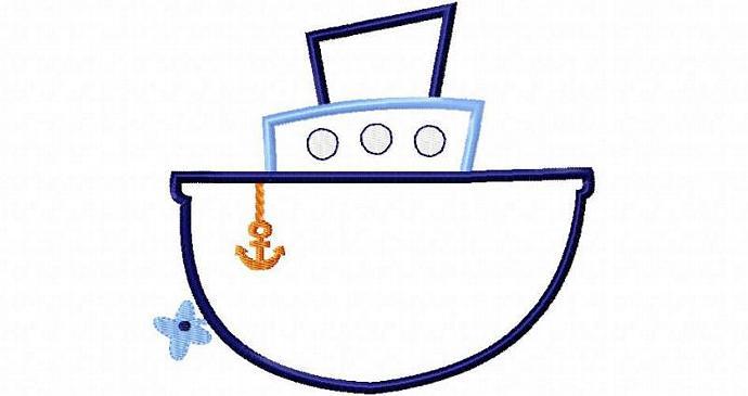 Tug Boat Applique Design Machine Embroidery