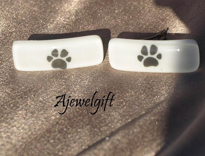 Pair of White Paw Barrettes