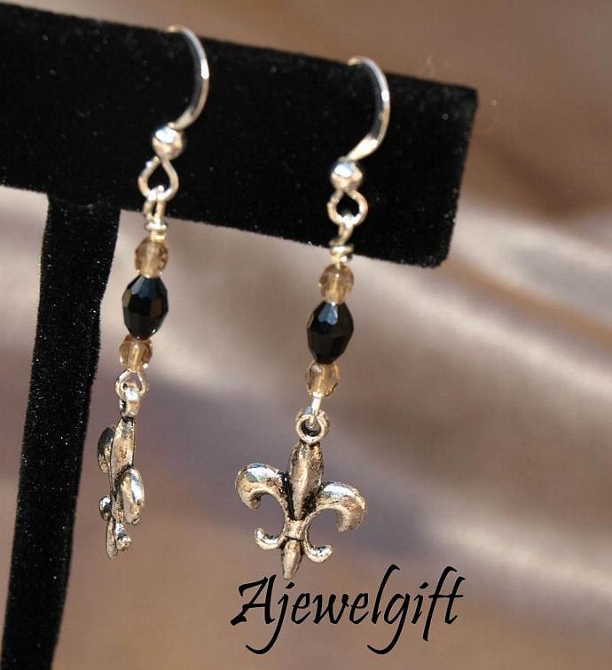Fleur De Lis Saints Earrings 10109