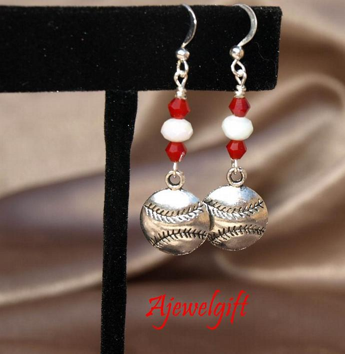 Softball Earrings with Red and White 10106
